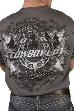 Cowboy Up Men's Grey Open Range Western T-Shirt