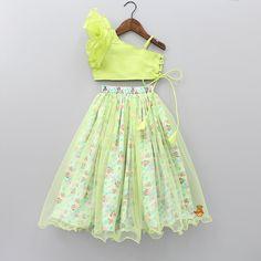 Green One Shoulder Top And Minnie Print Lehenga Kids Party Wear Dresses, Kids Dress Wear, Kids Gown, Little Girl Dresses, Girls Wear, Dresses For Girls, Girls Frock Design, Baby Dress Design, Baby Frocks Designs