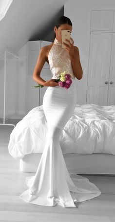 Mermaid Prom Dresses,White  Prom Dresses,Halte Prom Dresses,Elegant Evening Dresses,Backless Prom Dresses,Sleeveless Prom Dresses,Floor Length Prom Dresses,Simple Prom Dress,Cheap Prom Dresses,