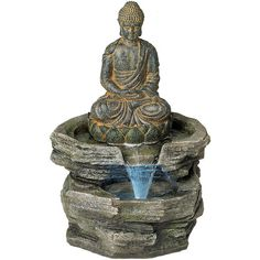Universal Lighting and Decor Sitting Buddha LED Water Fountain ($120) ❤ liked on Polyvore featuring home, outdoors, garden fountains, fountain and red
