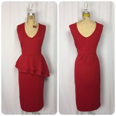 NWOT. Plus Size Rockabilly Red Layered Peplum Waist Wiggle Pencil Dress. VLV. 2X  | eBay