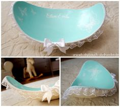 Belly Bowl in shabby, türkis mit Spitze und Strass...und viiiielen Schmetterlingen. Made by Atelier Body-pArts, www.babybauch-abdruecke.de