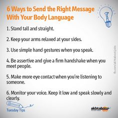 Whether you're at a job interview, in a work meeting or at an event, your body language is extremely important in making first impressions. The first impression you make on a potential employer or on people in general is the most important one. Akhtaboot shows you 6 ways you can use non verbal communication in sending the right message.