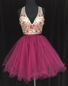 13bddb79fc7 Hot pink tulle V neck short party dress