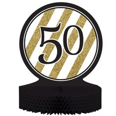 Black & Gold 50th Birthday Honeycomb Centerpiece/Case of 6  https://www.djpeter.co.za