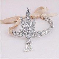 Material:alloy + rhinestone + Imitation pearl + ribbon size information: ( length : 16cm , width :10
