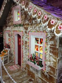 Photo of Ingrid's Kitchen - Oklahoma City, OK, United States. The life size gingerbread house is amazing! So glad we got to see it! Gingerbread Christmas Decor, Candy Land Christmas, Gingerbread Decorations, Christmas Yard, Gingerbread Houses, Christmas 2016, Office Christmas Decorations, Christmas Themes, Christmas Crafts