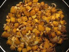 toss squash with onions and cashews