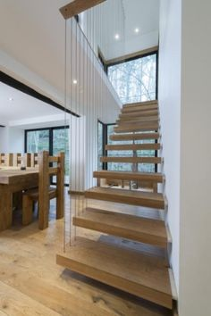 floating oak stairs water mill conversion in berywn mill
