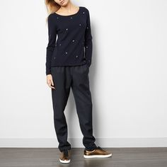 Des petits hauts Clermont Lurex Fruit Wool and Cashmere Jumper-product Cashmere Jumper, Teen Fashion, Fashion Brands, Rooms, Fruit, Kitchen, Pants, Blue, Beautiful