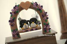 Custom Wedding Cake Topper -Handmade love penguin with love flower tree and a swing