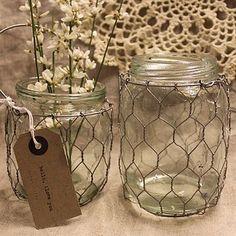 DIY, event decor, event design, weddings, chicken wires, mason jars