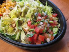 Taco Bell Power Bowl. Rice, black beans, chicken or steak, romain lettuce, sour cream, pico ...