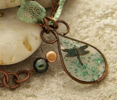 Green copper wire frame resin with dragonfly by DragonflyDreamers, $42.00