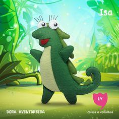 Isa é uma iguana 9 anos de idade e uma amiga muito próxima de Dora e Botas. É uma jardineira habilidosa que gosta de fazer as plantas crescerem principalmente flores de todos os tipos. #isa #iguana #doraaventureira #feltro #educacional #festainfantil #decoracaofesta #doratheexplorer #felt #handmade #lycoisasecoisinhas