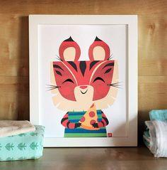 Pizza Tiger - Modern Nursery Art Print - Animal Art - Kids Wall Art - Nursery Decor - Baby Shower - Modern Art - Gender Neutral
