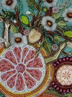 Heidi Kummli bead embroidery for tea packaging
