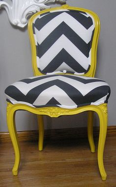 DIY covered / reupholstered chevron chair.