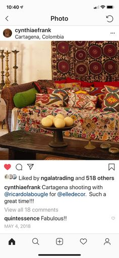 Elle Decor, Textiles, Boho, Pillows, Bohemian, Fabrics, Cushions, Pillow Forms, Cushion