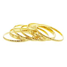 Gold Plated Carved Design Thick & Thin Bangle Bracelet Set of 6
