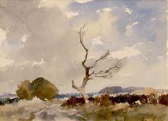 Edward Seago (1910 — 1974, UK) Norfolk Landscape. watercolor on paper.10.5 x 14.5 in.