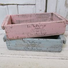 Wooden French crates painted pink and blue by AnitaSperoDesign