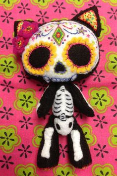 Catrina Hand Sewn Felt Kitten MADE TO ORDER by AngelCakesCrafts