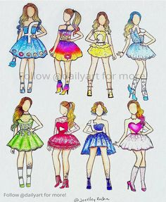Which is your favorite dress! Edited by: Foll noow us! Beautiful artwork by Tag your friends! App Drawings, Disney Drawings, Art Sketches, Amazing Drawings, Cute Drawings, Amazing Art, Dress Drawing, Drawing Clothes, Social Media Art