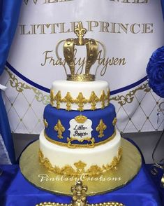 Royal prince baby shower cake! See more party ideas at CatchMyParty.com!