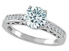Tommaso Design Genuine Aquamarine Solitaire Engagement Ring 14kt Size 9 *** Click image for more details.(This is an Amazon affiliate link and I receive a commission for the sales)