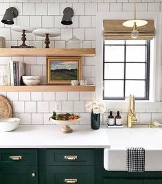 dark green kitchen cabinets white tile open shelving farmhouse sink and lower amazing very appealing next house color schemes Green Kitchen Cabinets, New Kitchen, Kitchen Dining, Kitchen Decor, Dark Cabinets, Dark Green Kitchen, Kitchen Sink, Colored Cabinets, Kitchen Colors