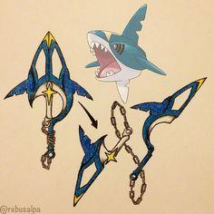 Pokeapon No. 319 - Sharpedo. #pokemon #sharpedo #anchorblade #chainblade #pokeapon