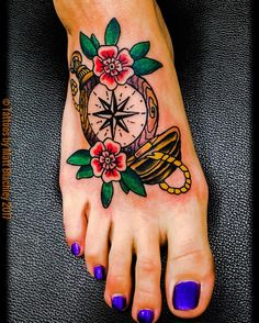 """anchor tattoo Skin Inc. Tattoo And Piercing (@skininc.dgo) on Instagram: """"American traditional compass Matt B just did for Brieanna. She's gonna come back and have some more done foot tattoo traditional tattoo"""