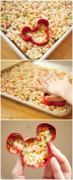 Disney World Inspired Mickey Fruity Krispie Treat, dipped in white chocolate! Kids love these! Capturing-Joy.com
