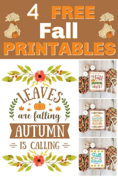 Free Fall Printables - Print these pretty fall printables out and pop them in a frame for instant fall decor.  They also look great hanging from a clipboard, tacked on a bulletin board, or taped to an office wall.  #fallprintable #freefallprintable #freeprintable