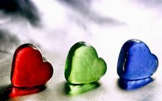 love hearts, red, green, blue