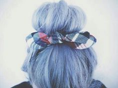 Who wouldn't like this pale blue up-do with blue plaid bow? I want to see more of this please.