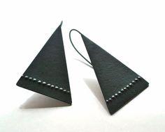 Modern Sterling Triangle Earrings In Black by Kathi Roussel