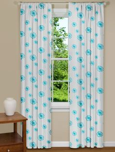 Turquoise Flowers With A Modern Twist In This Dandelion Curtain Panel