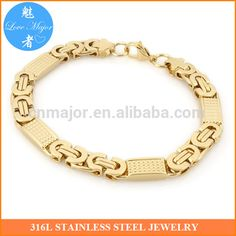 Gold Chains For Men Gold Plated Stainless Steel Bracelet for Men Gold Plated New Byzanine Chain Two Tone Jewelry Mens Diamond Jewelry, Mens Gold Bracelets, Gold Plated Bracelets, Diamond Bracelets, Bangles, Gents Bracelet, Gold Chains For Men, Engraved Jewelry, Stainless Steel Jewelry