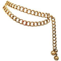 Preowned Chanel Gold Tone Metal Chain Belt ($1,400) ❤ liked on Polyvore featuring accessories, belts, multiple, chain belt, wide belt, hook belt, embossed belt and adjustable belt