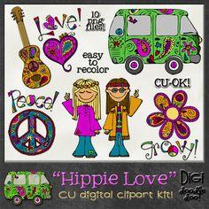Hippie Love CU clipart for digital scrapbooking.