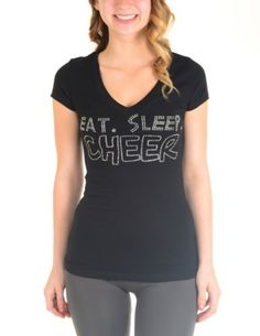 """Eat Sleep Cheer"" Rhinestone Cotton V-neck T-shirt (Medium, Black) Cotton Cantina,http://www.amazon.com/dp/B00CLIPE64/ref=cm_sw_r_pi_dp_EHOBsb1N9ZDHGE80"