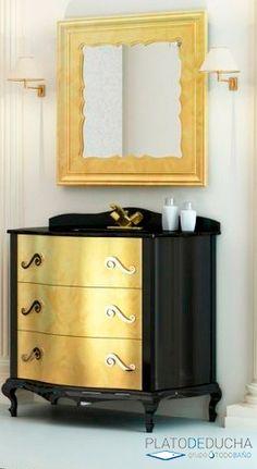 Mueble de baño Venecia con acabado combinado en Oro y Negro con tirador en Cromo Viejo Furniture, Home Decor, Venice, Bathroom Furniture, Trading Cards, Upcycling, Gold, Bricolage, Decoration Home