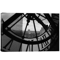 Clock Tower in Paris Photographic Print on Canvas