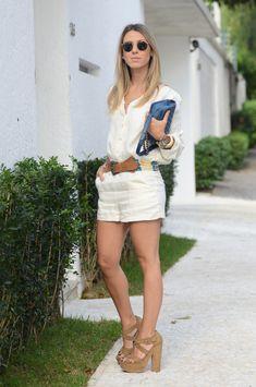a37 Meu Look: Macaquinho de Linho Meu Look Macaquinho Chanel Azul