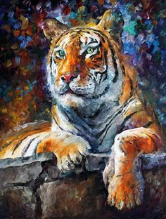 """SIBERIAN TIGER  —  Oil Painting On Canvas By Leonid Afremov. Size: 30""""x24"""" #Impressionism"""