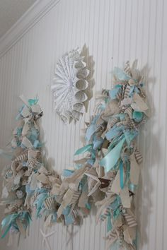 The Shabby Creek Cottage: Lighted Raggamuffin Garland Rag Garland, Fabric Garland, Bunting Garland, Bunting Ideas, Garland Ideas, Pine Garland, Light Garland, Shabby Chic Christmas, Coastal Christmas