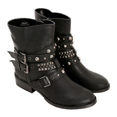 Black Stud And Strap Low Moto Boot | Hot Topic ($20) ❤ liked on Polyvore featuring shoes, boots, botas, sapatos, biker boots, studded boots, black moto boots, black motorcycle boots and black zipper boots