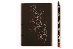 Embroidered Notebook / Blooming Branch / A6 Nature Notepad / Red Flowers Jotter / Japanese Black Notebook  / Mini Journal / Pocket Notebook
